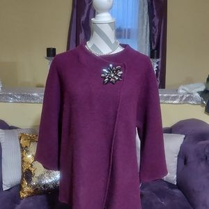 NWT JM Collection Jeweled Wool Capelet Size M